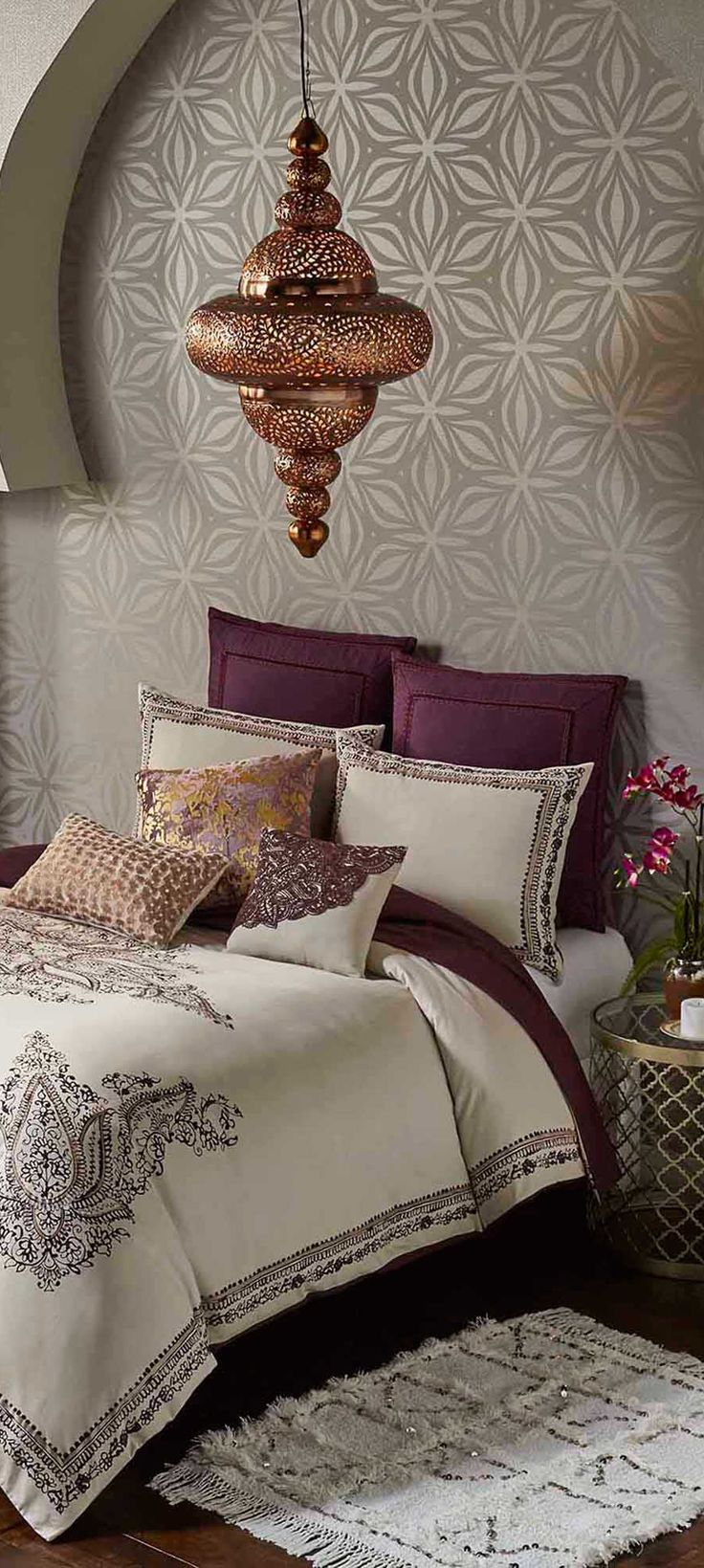 Blissliving duvet cover more absolutely love the touch deep plum with all the light neutrals find this pin and more on moroccan decor