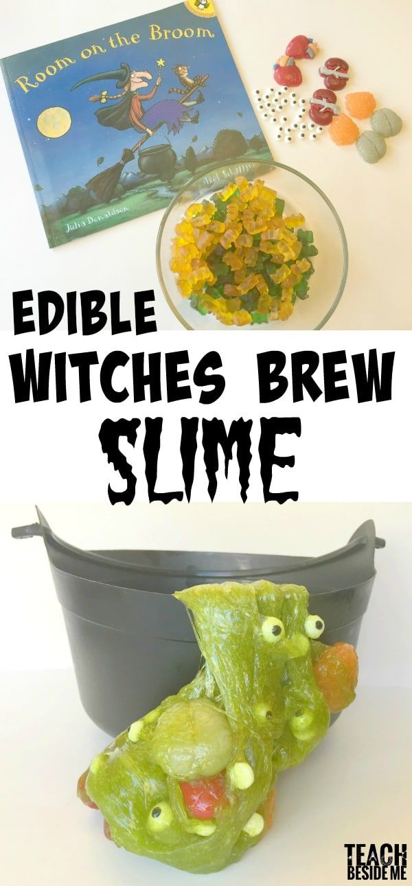 Edible Witches Brew Slime for Halloween- goes perfectly with the book Room on the Broom!  via @karyntripp