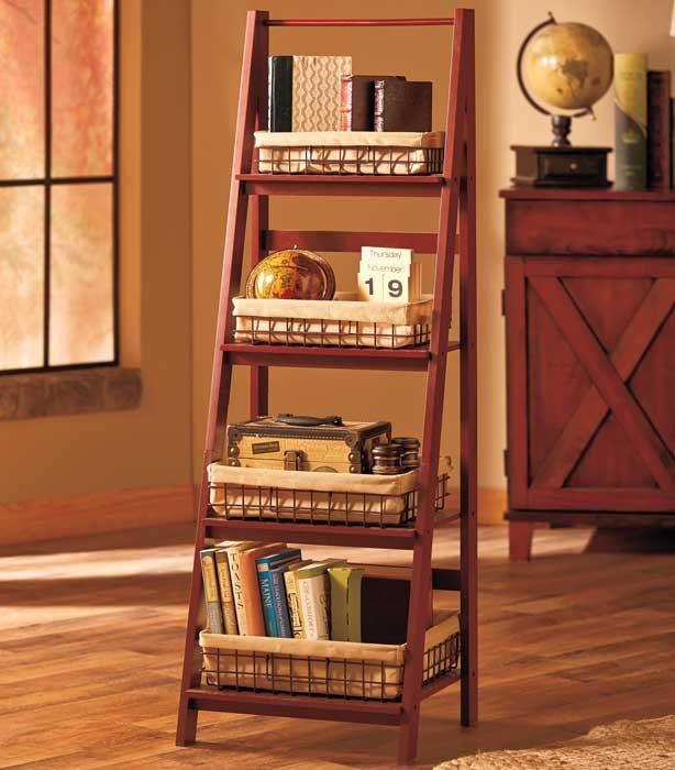 ladder 4 tier storage shelf add lined wire baskets living room kitche u2013 online