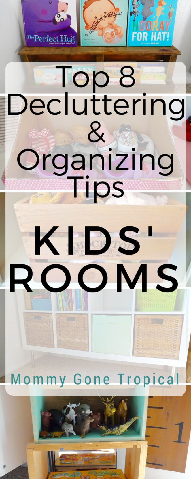 Top 8 decluttering and organizing tips for kids' rooms to keep, store, donate or toss/recycle.