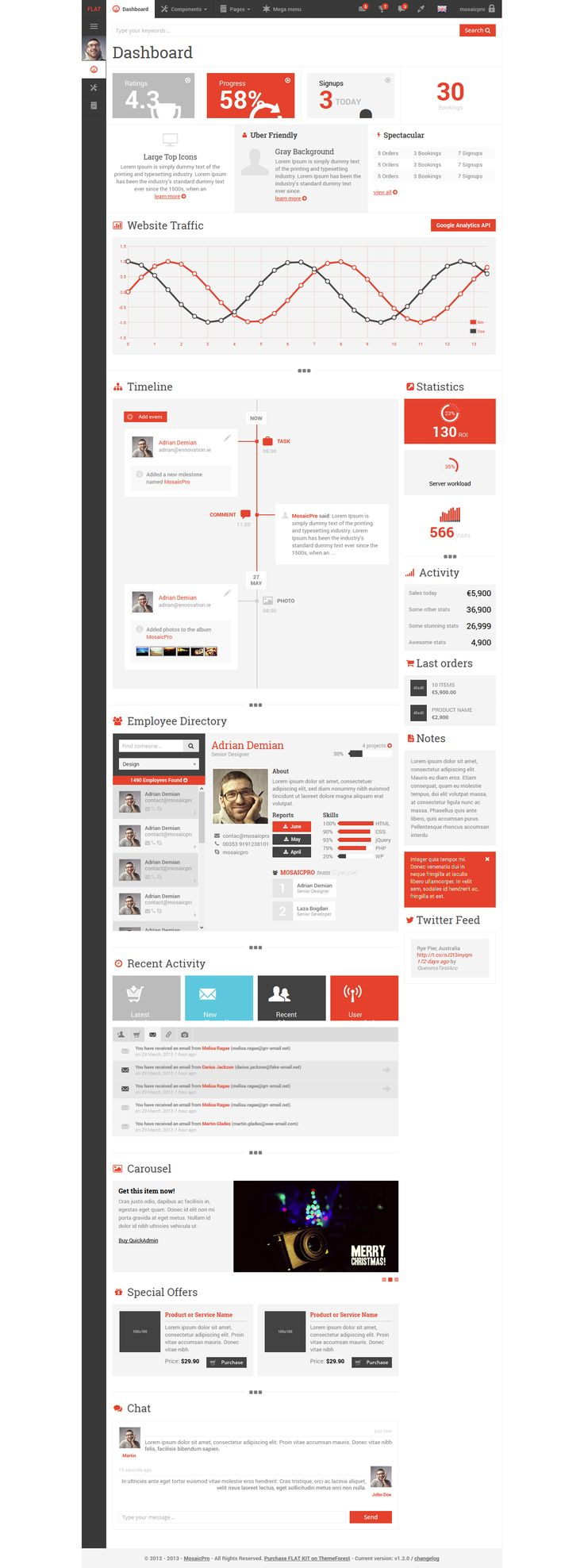 red, UI, admin, dashboard, flat