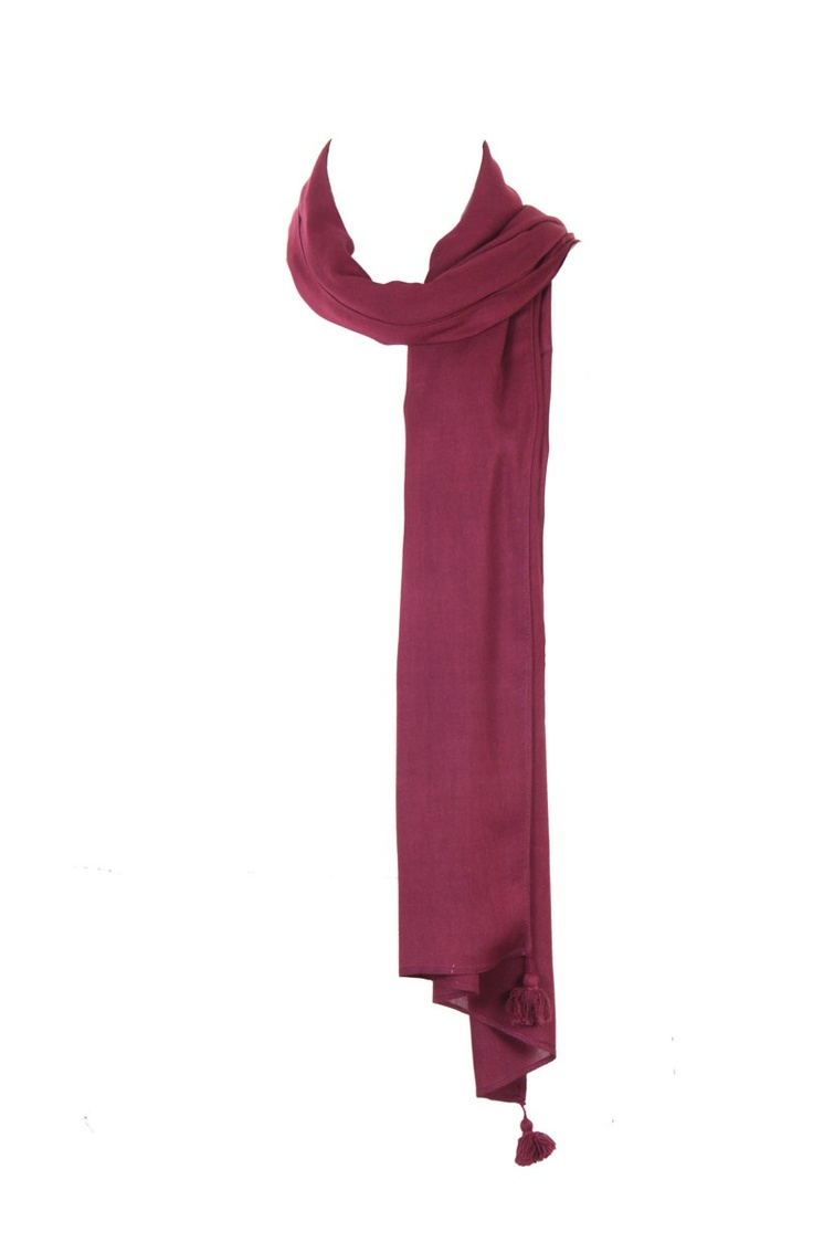 Purple Solid Duaptta With Tassesl Detail On All Corner Edges; 100% Viscose; 2.25M In Length; Non Crinkled #Fashion #Style #Colors #Drapes #W for #Woman