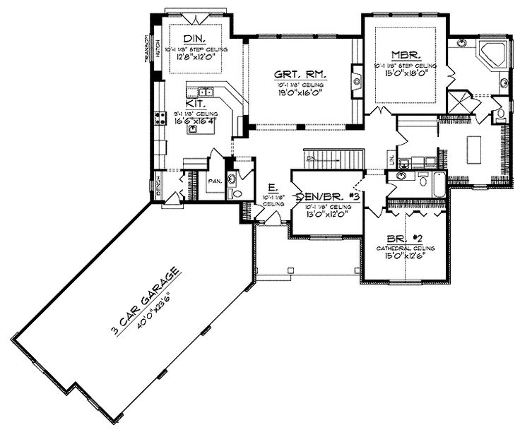 Floor Plans Aflfpw01209 1 Story Ranch Home With 3