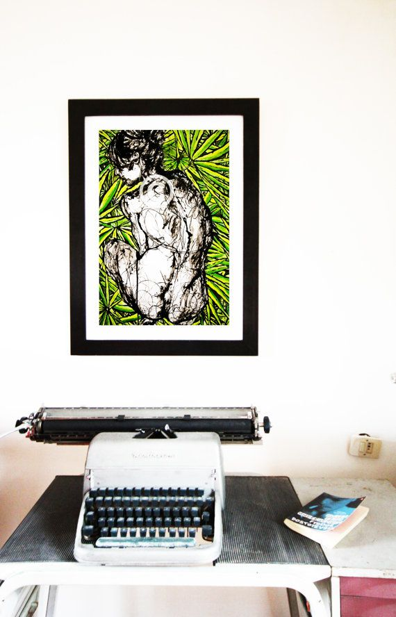 """Limited edition Art Print. GIRL IN PALMS.  12"""" x 16.5"""" €37.10  AVAILABLE HERE: https://www.etsy.com/ie/listing/213520724/limited-edition-art-print-12-x-165-girl?ref=shop_home_active_8"""