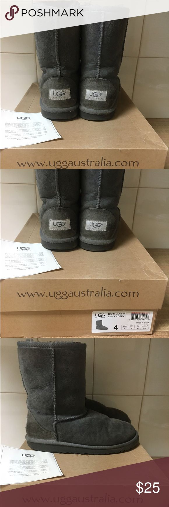 GREY KIDS SIZE 4 SHORT UGGS Authentic grey short kids size 4 Uggs ! Fits a women's size 6! Worn for a season in good worn condition as shown in pictures. Purchased originally for $100! UGG Shoes Winter & Rain Boots