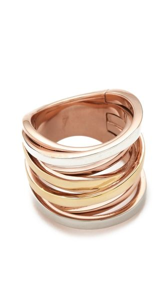 Michael Kors Brilliance Tri-Tone Intertwined Ring.  Size 7 for ring finger...8 for all others