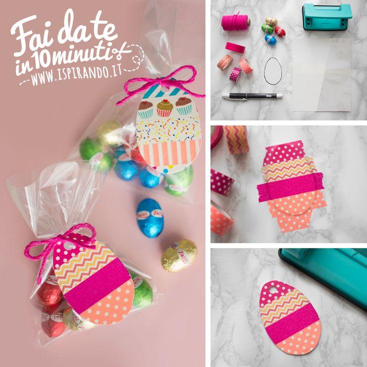 Come creare coloratissime etichette pasquali fai da te utilizzando i nastri di carta washi tape | DIY easter label made with washi tape • #DIY #easterDIY #easter #label #washitape