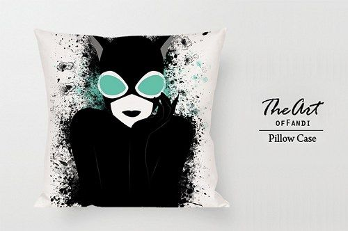 "Catwoman Art Cartoon - Custom Square 18""x18"" One Side Pillow Case."