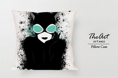 "Catwoman Art Cartoon - Custom Square 18""x18"" One Side Pillow Case."