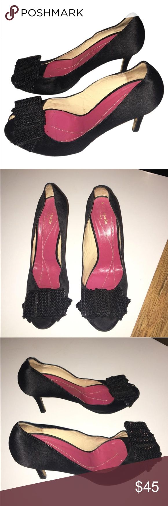 "Authentic Kate Spade black heels sz 8.5 Good Condition Authentic Kate Spade black satin with a bow heels pumps 8.5 light scuffs light wear 3"" heels super cute shoes for prom wedding special event kate spade Shoes Heels"
