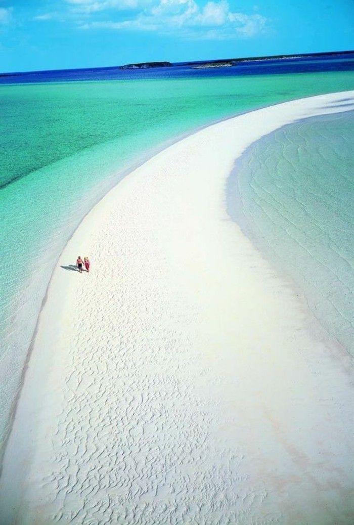 photo plage paradisique, sable beige Les Bahamas