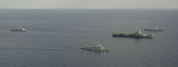 The battle group built around the aircraft carrier Charles de Gaulle on operatoin Belleau Wood in the Indian Ocean.