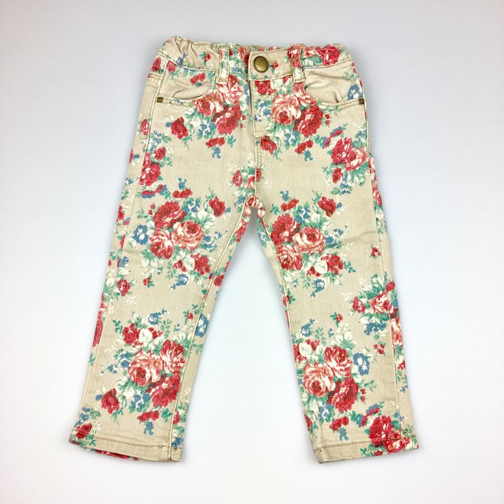 ZARA, baby girl's floral print stretch jeans with adjustable waist, excellent pre-loved condition (EUC), size 9-12 months, $9