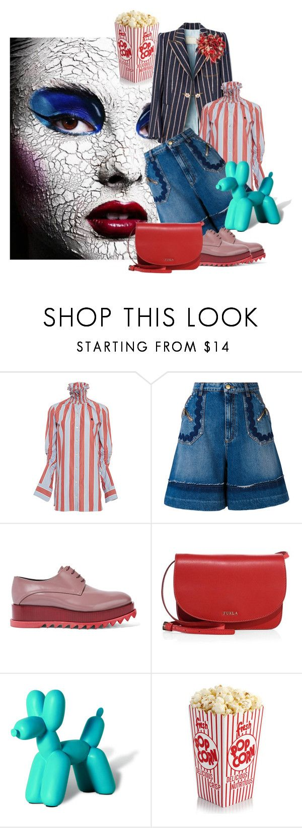 """""""Send in The Clown"""" by the-house-of-kasin ❤ liked on Polyvore featuring Carven, Sonia Rykiel, Jil Sander, Furla, Imm Living, stripes and circus"""