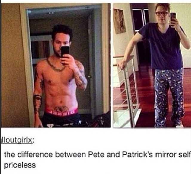 The difference between Pete Wentz and Patrick Stump mirror selfies.