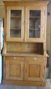 Antique Kauri Pine Kitchen Dresser Hutch Buffet Sideboard Cupboard Storage Love
