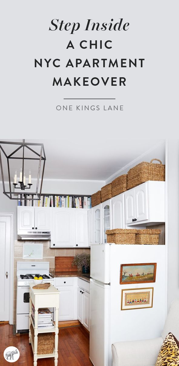 What a total transformation! With help from the design team at The Studio at One Kings Lane, this petite NYC apartment went from feeling drab and cluttered to an eclectic and sophisticated bachelorette pad! See the before and after pictures, and get all the interior designer secrets on how to makeover your own space at home, right here on the One Kings Lane Style Guide!