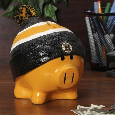 Boston Bruins Large Piggy Bank With Hat - I know who needs a new piggy bank.