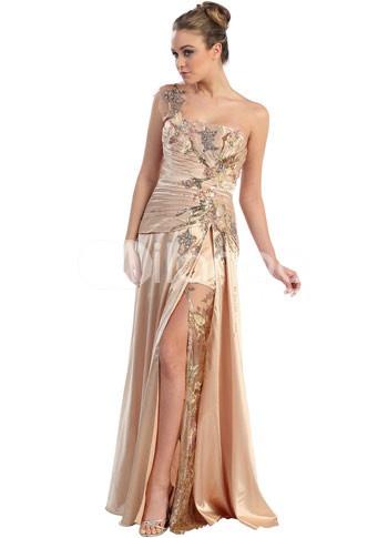 Luxueux Champagne élastique tissés Satin une épaule dentelle broder robe de bal