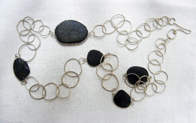 necklace - sterling silver / pebbles