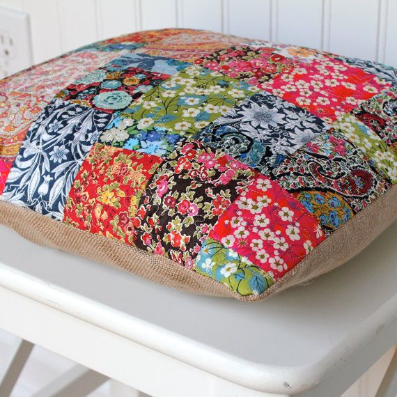 liberty patchwork cushion - for girls bedroom - we bought these similar fabric patchwork squares in Liberty London at Christmas