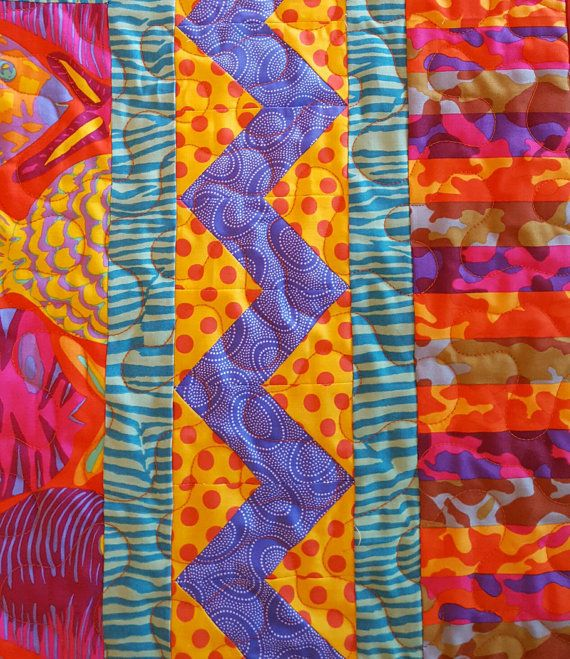 Colorful Kaffe Fassett Lap Quilt by coopersquilts on Etsy