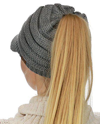 2f443b0ead392 Black Duck Brand BeanieTail Warm Knit Messy High Bun Ponytail Visor Beanie  Cap