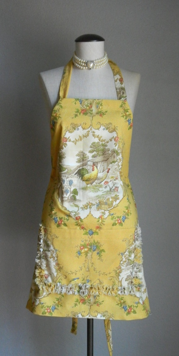 Cottage Chic Full Apron Country French Rooster & Hen