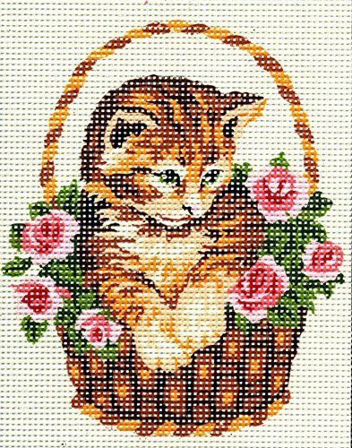 GINGER KITTEN IN A BASKET OF PINK ROSES NEEDLEPOINT CANVAS