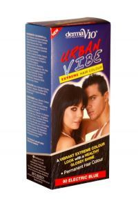 £0.99 Derma V10 Urban Vibe Extreme Hair Colour 90 Electric Blue A vibrant extreme colour look with a healthy glossy shine. Permanent.