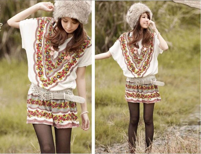Ethnic Style Loose-Fitting Dolman Sleeves Dress For Women (WHITE,FREE SIZE) China Wholesale - Sammydress.com
