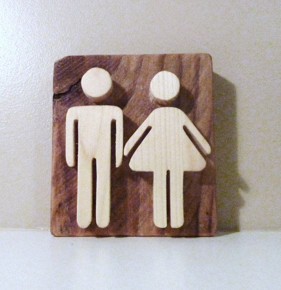 Wooden bathroom sign. Rustic sign for toilet door. This original restroom wood sign is made of old recycled barn wood and pine. Original and