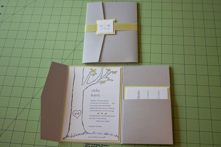 DIY pocket invitations.  Love the pocket for RSVPs