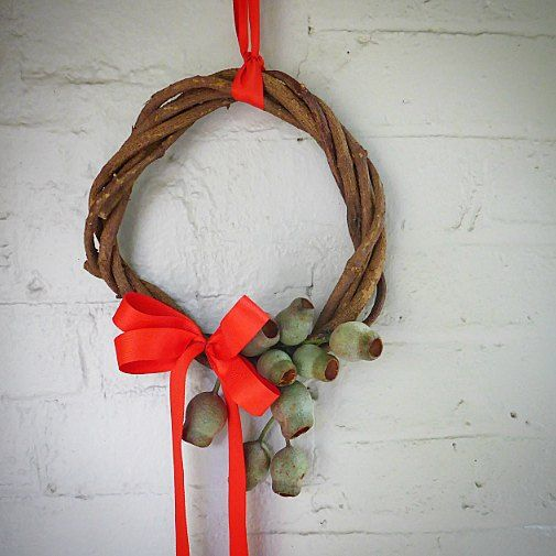 Monkey vine Christmas wreath with a feature of gumnut.