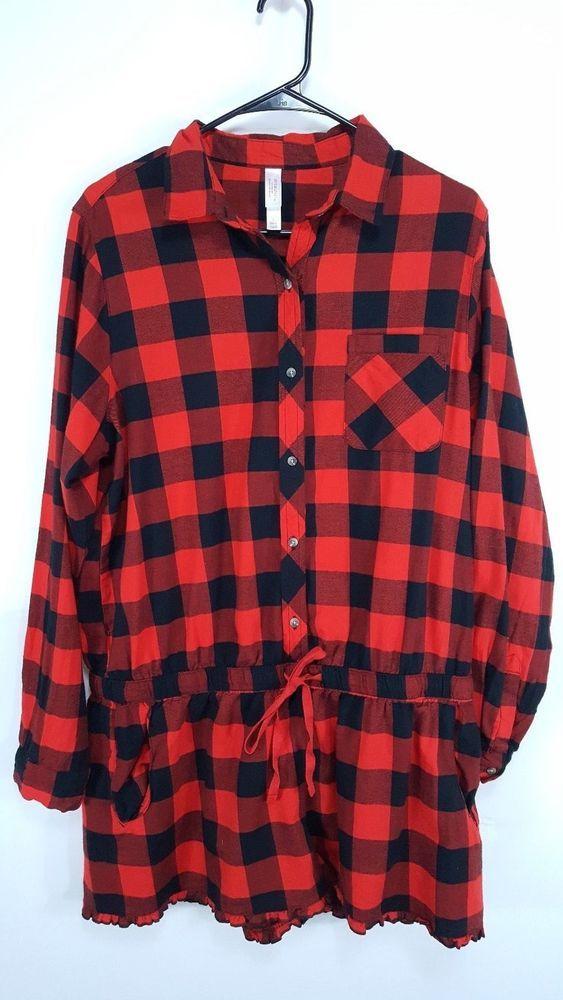 Xhilaration Women's Sleepwear Size L Black Red Plaid One Piece Pajamas Short  #Xhilaration #Pajamas #Sleepwear