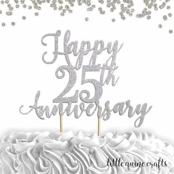 Anniversary cake topper ~ 25th wedding ~ silver anniversary ~ sparkling cake topper ~ glitter cake topper ~ custom anniversary decor