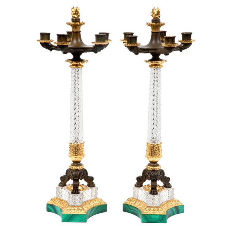 Pair Of Period French Restauration Crystal And Bronze Candelabra 1stdibs Com Bronze Candelabras Bronze Candle Antiqued Candle Holders