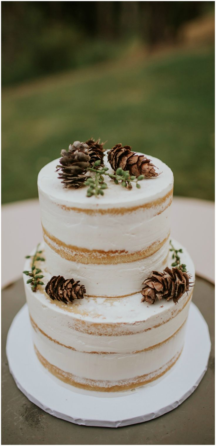Naked wedding cake, pinecones, forest weddings, rustic // Weddings by Sunnyside