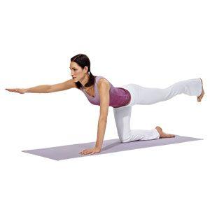 Después de dos respiraciones de perro a la baja, pasar a gatas. Levante y extienda el brazo derecho y la pierna izquierda, manteniendo tanto recta y en línea con la espalda plana. Apriete el abdomen y los glúteos, y luego liberar y cambiar de bando.