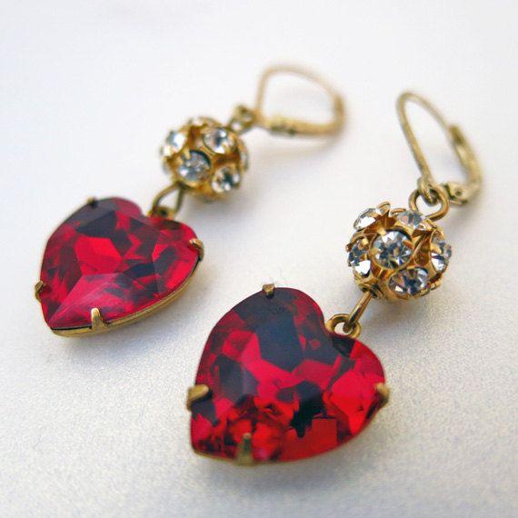 Heart Earrings Red Heart Earrings Holiday Jewelry by CRystalCRush, $24.00
