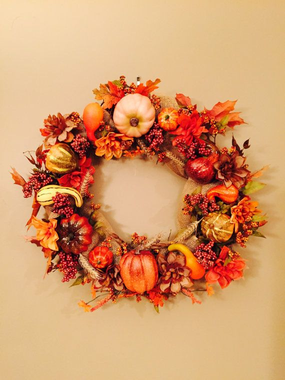 Fall Wreath Autumn Wreath Late Harvest Wreath by LuckySophieCrafts  Awesome Store!