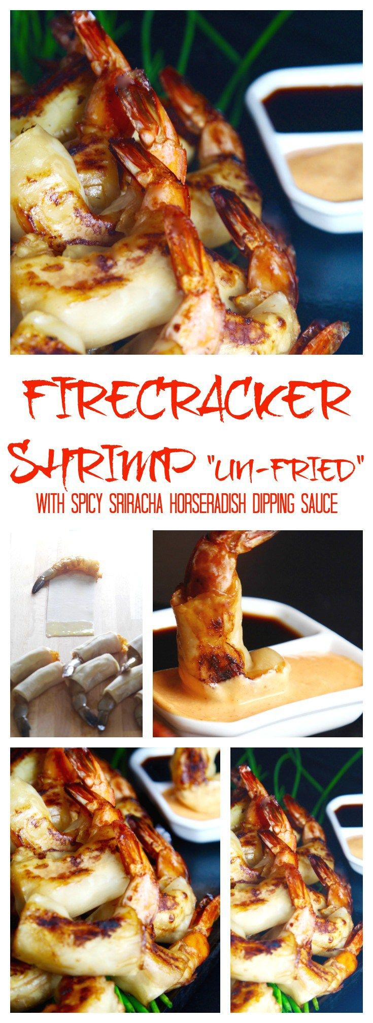 """Serve easy """"un-fried"""" firecracker shrimp dipped in spicy horseradish-sriracha sauce at your party, a lighter, healthier recipe that skips frying in oil!"""