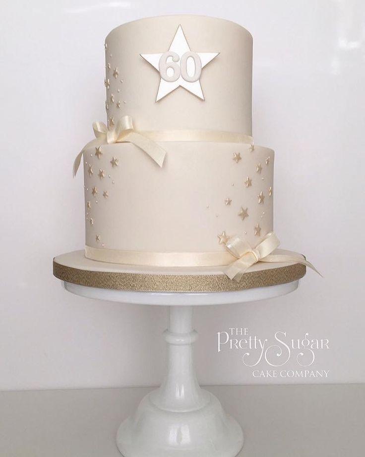 Gold shimmer stars 60th birthday cake