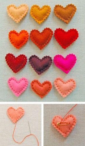 corazones fieltro