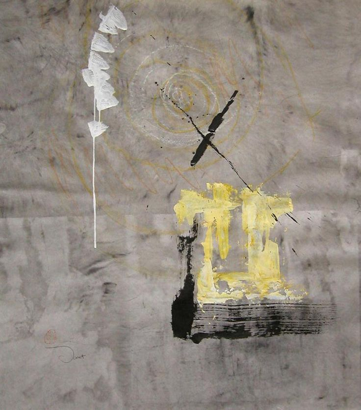 Another Day I, 2003, 50x77cm<br> Ink/mixed media on rice paper<br> Private Collection