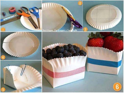 Come trasformare un piatto di carta in un contenitore #tutorial Idea #riciclo