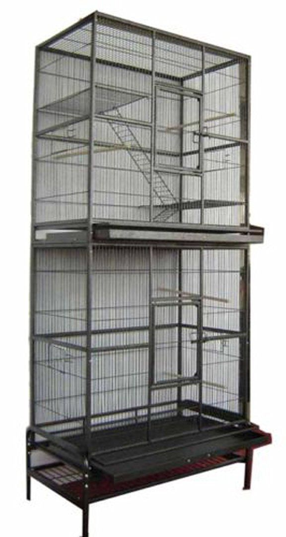 Amazon.com : 2 Color, NEW Large and Tall Double Stackable Wrought Iron Ferret Chinchilla Sugar Glider Small Animal Cage With Metal Tray and Removable Stand (Black Vein) : Pet Supplies