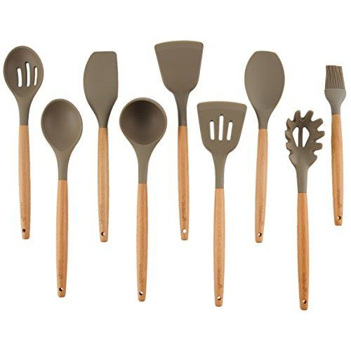 Miusco 5 Piece Silicone Cooking Utensil Set with Natural Acacia Hard Wood Handle, Grey: Amazon.co.uk: Kitchen & Home