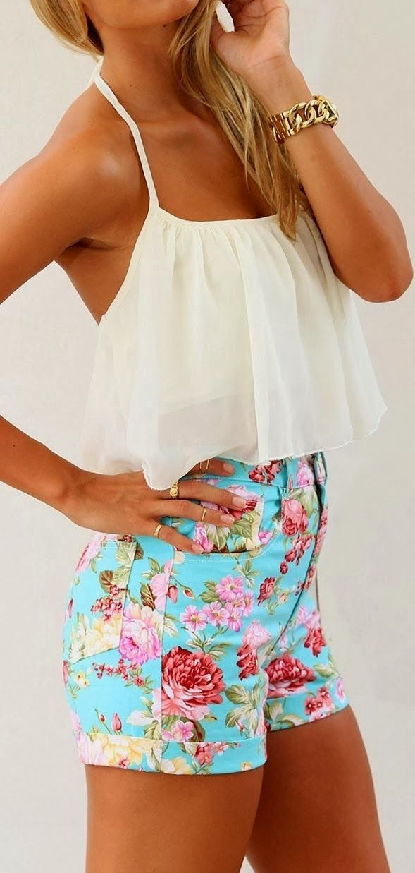 Crop Top + High Waisted Floral Shorts