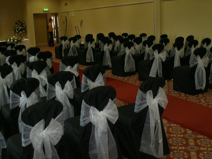 Black Chair Covers with White Organza Bows
